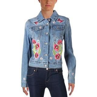 Bagatelle Womens Denim Jacket Embroidered Embellished