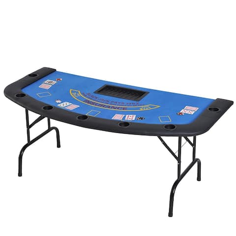 "HomCom 72"" 7 Player Foldable Half Poker Table - Blue/Black"