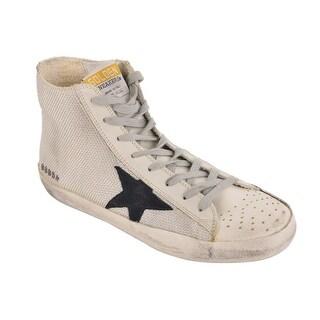 Golden Goose Ivory Mesh Canvas High Top Superstar Sneakers