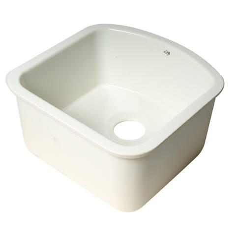 "ALFI brand AB1818C 17"" White Fireclay Undermount D-Shaped Kitchen Sink"