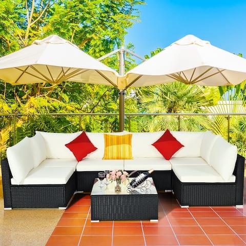 7PCS Patio Rattan Furniture Set Sectional Sofa Cushioned Glass Table