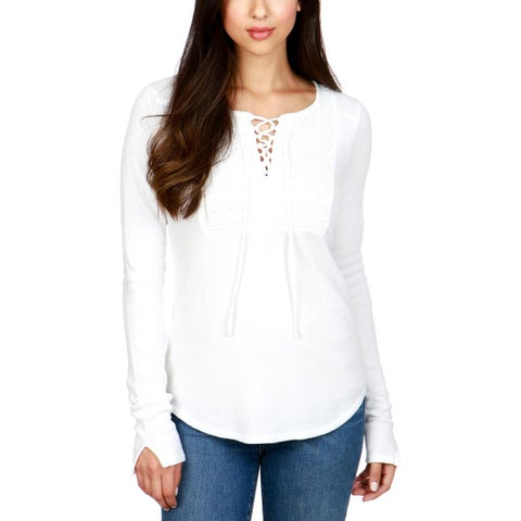 Lucky Brand Womens Thermal Top Lace-Up Long Sleeves