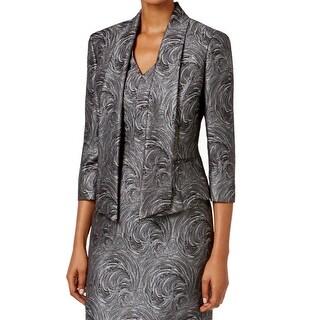 Kasper NEW Gray Women's Size 8 Swirl Jacquard Shawl Collar Blazer