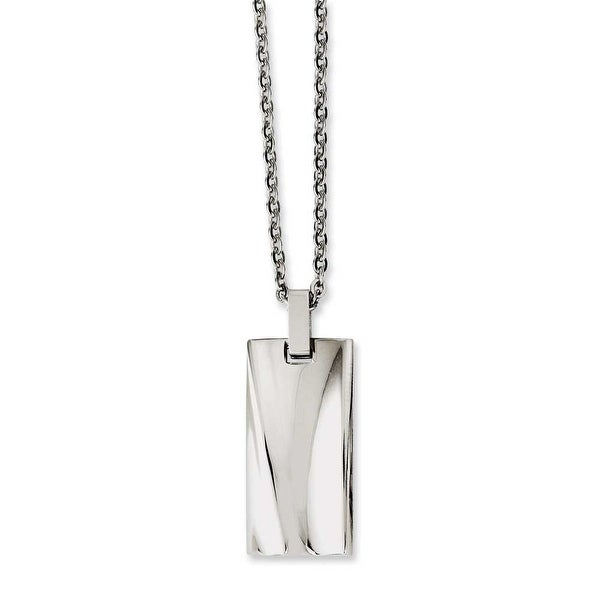 Chisel Stainless Steel Polished Concave 22in Necklace (2 mm) - 22 in