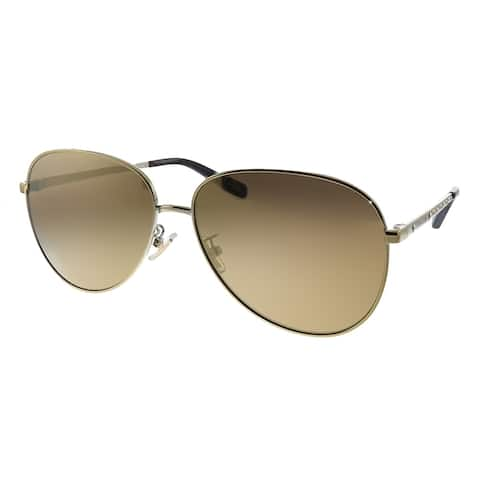 Coach L1089 HC 7094 90052T Womens Light Gold Frame Brown Mirrored Polarized Lens Sunglasses