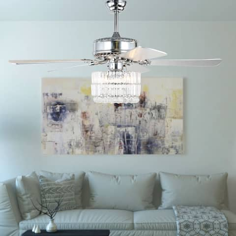 "52"" Chrome Crystal Ceiling Fan with Remote Contrl and 5 Reversible Blades"