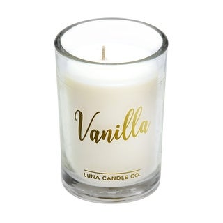 Strong Scented Vanilla Glass Candle, Warm and Inviting, 6 Oz.