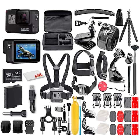 GoPro HERO7 Black - With 64GB Micro Sd Card and 50 Piece Accessory