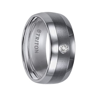 ORSON Domed Tungsten Wedding Band  Satin Finished  with a White Diamond Center Setting by Triton Rings - 9 mm