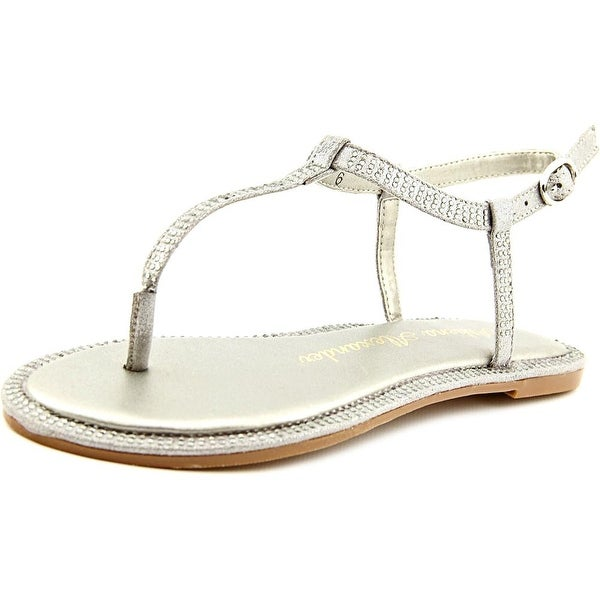 Athena Alexander Chique Women Open Toe Canvas Silver Thong Sandal