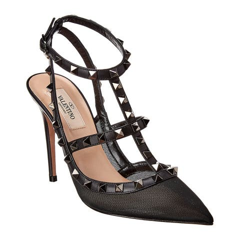 Valentino Rockstud Caged 100 Leather & Mesh Ankle Strap Pump