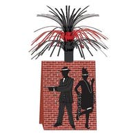 """Club Pack of 12 Red Brick with Metallic Tinsel Gangster Table Centerpieces 14"""""""