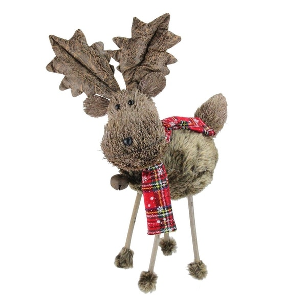 """15.75"""" Holiday Moments Elk with Red and Black Plaid Scarf Christmas Figure Decoration"""