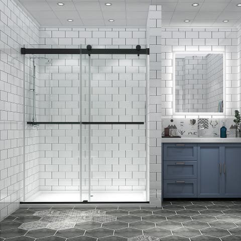 """ExBrite 56""""-60"""" x 74"""" Classic Frameless Contemporary Double Sliding Shower Door, Clear Tempered Glass, Black Finish"""