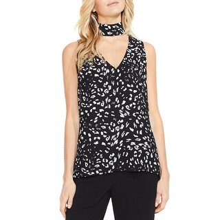 Vince Camuto Womens Tank Top Printed Choker Neck