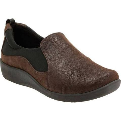 Clarks Women's Sillian Paz Slip-On Dark Brown Synthetic Nubuck