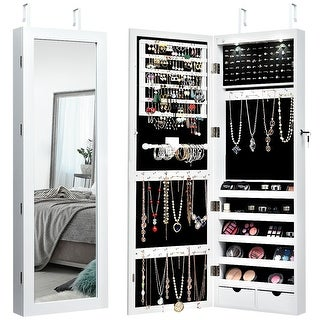 Costway Wall Mount Mirrored Jewelry Cabinet Organizer LED Lights