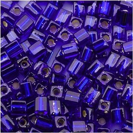 Miyuki 4mm Glass Cube Beads Silver Lined Dark Sapphire Blue 20 10 Grams