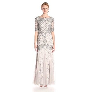 Adrianna Papell Women's Beaded Gown with Elbow Sleeves and Godets - Silver