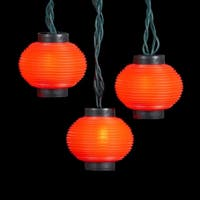 Set of 10 Red Chinese Lantern Christmas Novelty Light Set - Green Wire