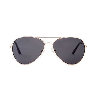 Aviator Black Lens Gold Frame Sunglasses - One size
