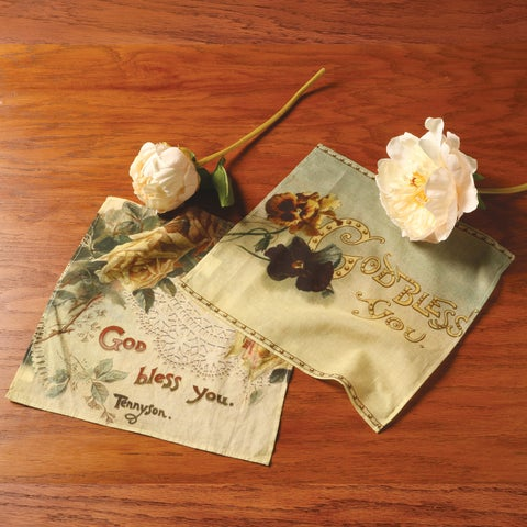 Victorian Trading Company God Bless You Hankies - Set of 2 Floral Print Handkerchiefs - 10 in.