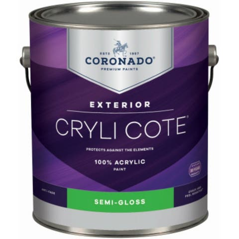 Coronado 2-34-4 Cryli Cote Acrylic Exterior Paint, Semi-Gloss, Deep Base, 1 Qt