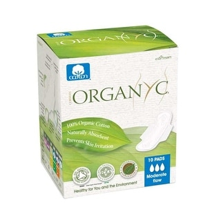 Organyc Cotton Feminine Pads, Maternity Pads with Wings - 10 Ct