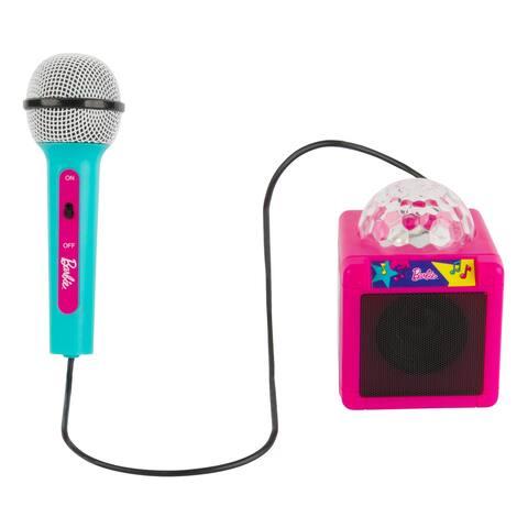 Barbie Kids Bluetooth Karaoke Speaker and Microphone with Disco Lights