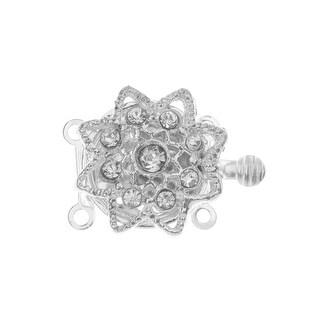 Box Clasp, 2-Strand Star Shaped Flower Design with Clear Rhinestones 20x15.5mm, 1 Set, Platinum Tone