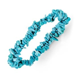 Chisel Dyed Howlite Turquoise Color Stretch Bracelet