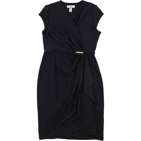 Charter Club Womens Faux Wrap Dress, Blue, PP