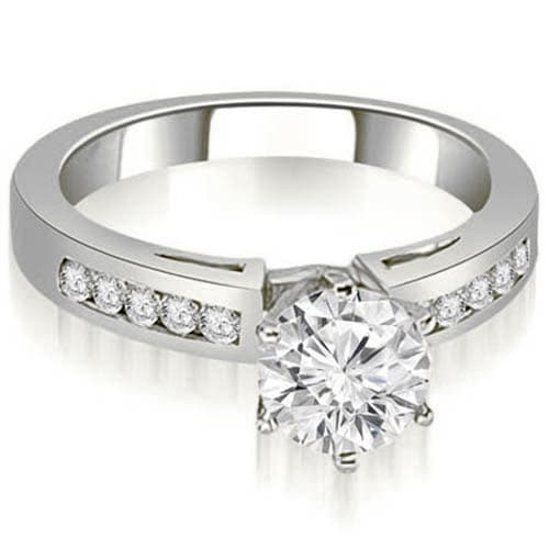 0.75 cttw. 14K White Gold Channel Set Round Cut Diamond Engagement Ring