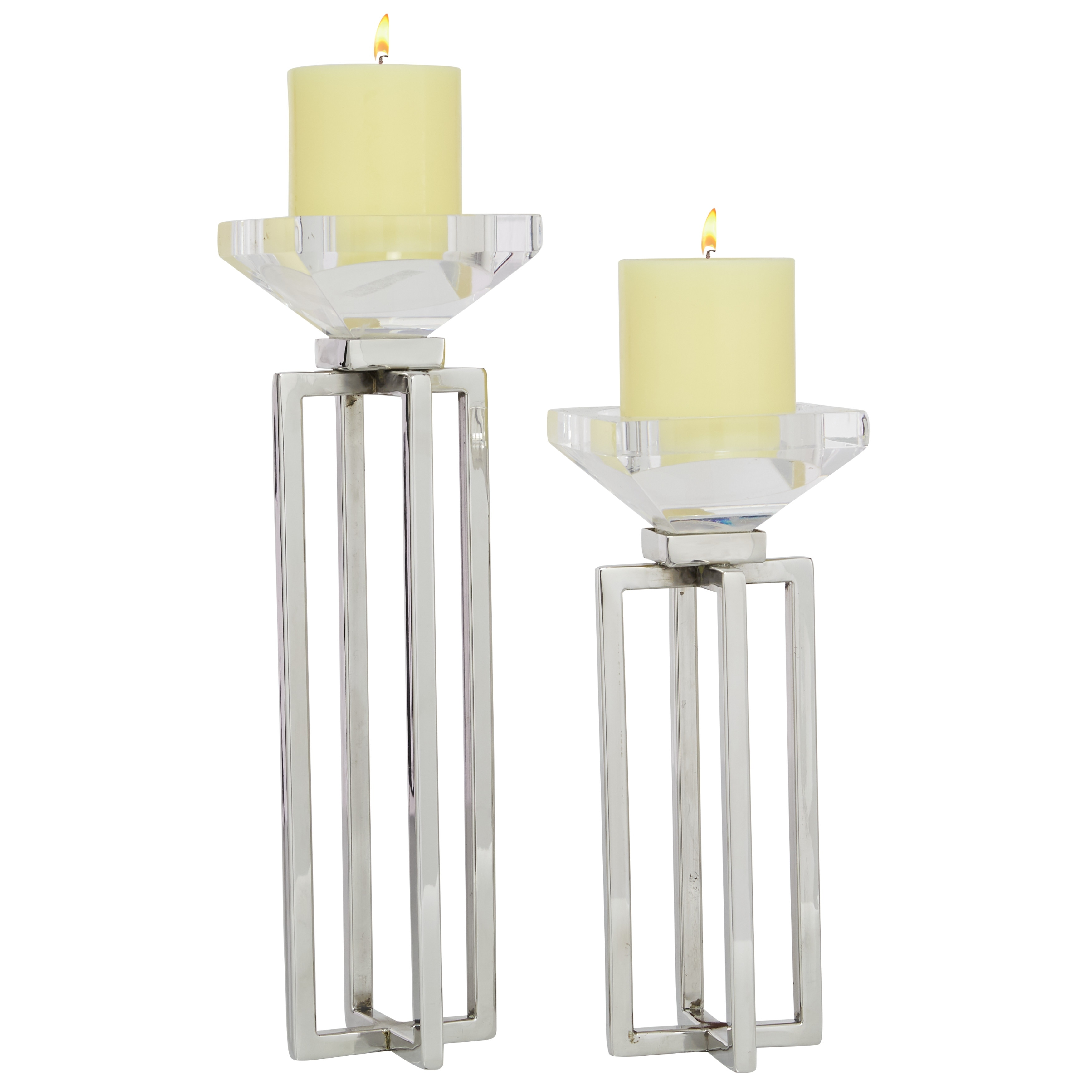 2 Pcs Candle Holders For Pillar Candles Modern Glass And Stainless Steel Centerpieces For Home Silver 4 X 4 X 13 Overstock 32141491