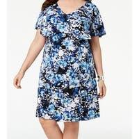 Connected Blue Women's Size 18W Plus Floral Ruffle Sheath Dress