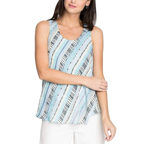 NIC+ZOE White Blue Womens Size Small S Scoop Neck Printed Tank Top