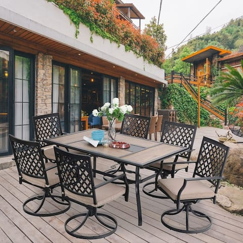 PHI VILLA Outdoor Patio Dining Set 7 Pieces Metal Furniture Set, 6 Swivel Chairs with 1 Rectangular Umbrella Wood Like Table