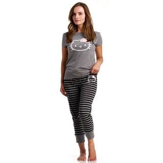 Hello Kitty Simply Basic Stripe Top/Pants Pajama Set - Grey