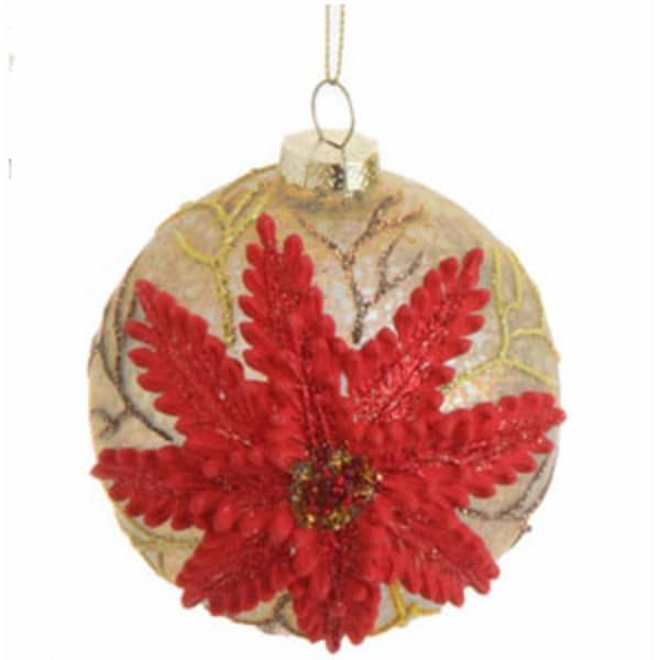"Speckled Antique Glittered Poinsettia Glass Ball Christmas Ornament 3.5"" (90mm)"