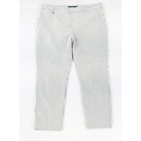 Lauren by Ralph Lauren Womens Pants Gray Size 10 Cropped Seersucker