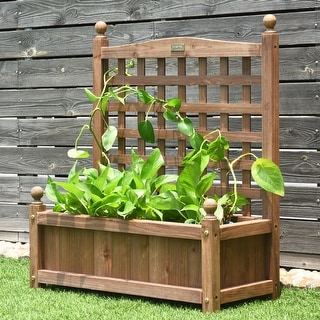 Link to Outdoor Wooden Plant Box Flower Plant Growing Box Holder with Trellis Similar Items in Planters, Hangers & Stands