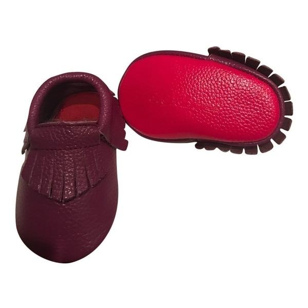 Baby Girls Dark Purple Red Soft Sole Faux Leather Tassel Moccasins 3-18M