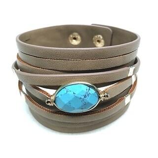 Potissi Semi-precious Stone Layered Leather Bracelet