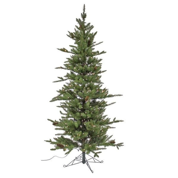 "7' x 60"" Pre-Lit Medium Pine Artificial Christmas Tree – Warm White Lights"