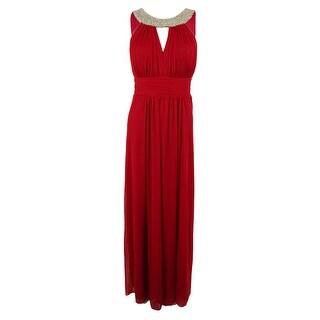 Onyx Nite Women's Embellished Neckline Mesh Ruffle Gown