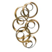 "38.5"" Contemporary Antique Gold Leaf Spiraling Wall Decoration Sculpture"