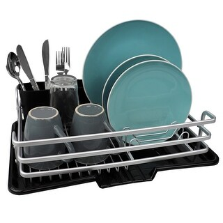 Link to Aluminum Dish Rack with Side Mounting Cutlery Holder, Black Similar Items in Kitchen Storage