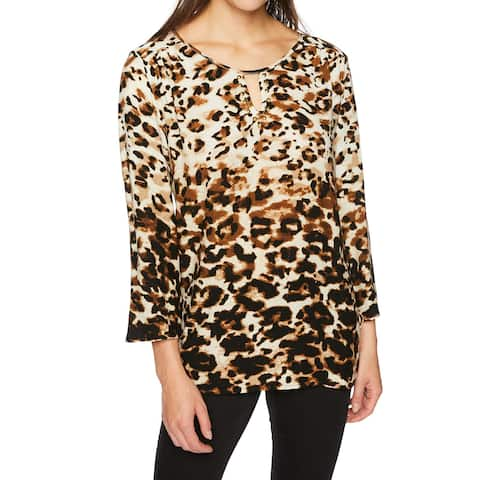 Ruby Rd. Brown Women's Size Large L Leopard Keyhole Tunic Blouse