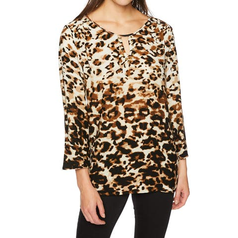 Ruby Rd. Brown Womens Size Large L 3/4 Sleeve Keyhole Printed Top
