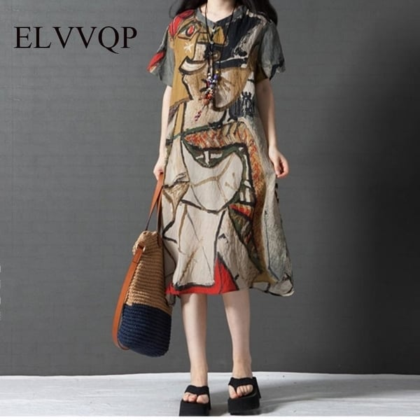 d7d51a92b4ec Elegant Casual Women Dresses Big Sizes 2018 Plus Size Women Clothing Summer  Style O-Neck